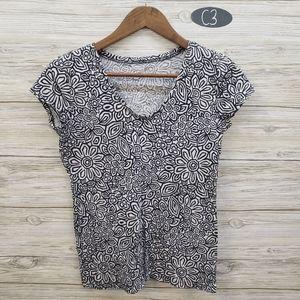 Loft Black & White Floral Short Sleeve Top
